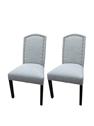 Sole Designs Set of 2 Nickel Nails Camelback Chairs, Light Blue