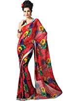 Pagli multi colour digital printed georgette saree with fancy sequence border.