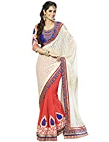 KVS FAB White Orange Georgette Jacquard Saree