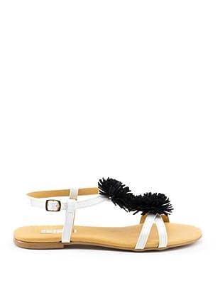 Misu Sandale Pompon (Weiß/Schwarz)