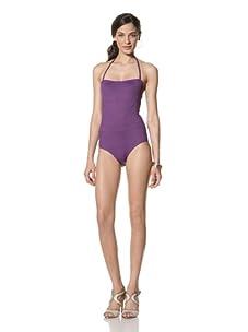 diNeila Women's Halter Neck One Piece Swimsuit (Petunia)