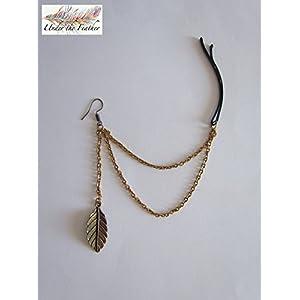 Under the Feather Ear-to-Hair Cuff: Bronze Leaf Ear Cuff