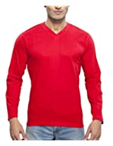 Clifton Men's Basic Full Sleeve V Neck T-Shirt - Red - Large