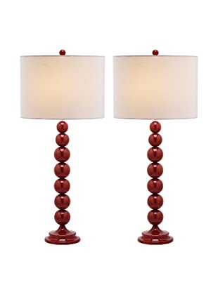 Safavieh Set of 2 Jenna Stacked Ball Lamps, Chinese Red