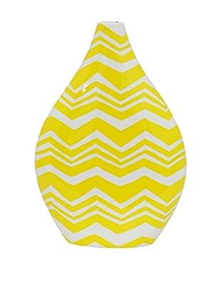 Three Hands Little Teardrop Chevron Ceramic Vase, Yellow/White