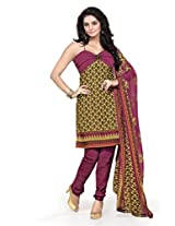 BanoRani Womens Mehndi Green & Magenta Color Casual & Printed PolyCotton Ladies Unstitched Salwar Suit Dress Material with Printed Dupatta