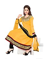 Khushali Women's Semi Cotton Unstitched Anarkali Salwar Suit (YELLOW)