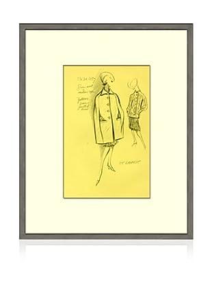 Print of St Laurent Women's Fashion Sketch Circa 1968