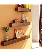 Home Sparkle Brown Wooden Set of 3 Wall Shelves sh361