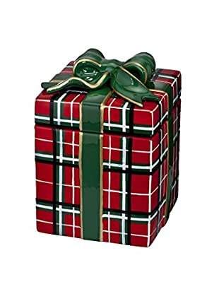 Waterford Ceramic Candy Jar Christmas Plaid Present, Multi