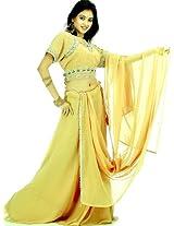 Exotic India Dark Khaki Lehenga Choli with Beadwork and Sequins - Dark Khaki