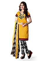 BanoRani PolyCotton Yellow & Black Color Casual & Printed UnStitched Dress Material