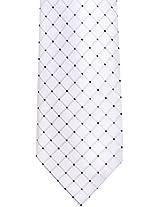 Geoffrey Beene Men's Silk Blend Necktie, Dot Grid (White)