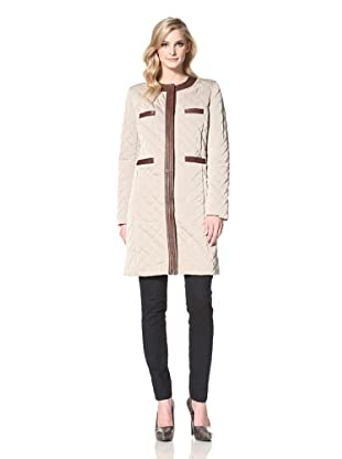 Les Copains Women's Quilted Coat with Leather Trim (Sand)