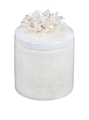 Privilege International Large White Ceramic Jar with Flower Lid