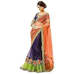 Bollywood Designer Saree Sari Women Bridal Wedding Lehenga Sari Blooming Blue and Orange Lehenga Saree Indian Saree Sari Party Wear Saree
