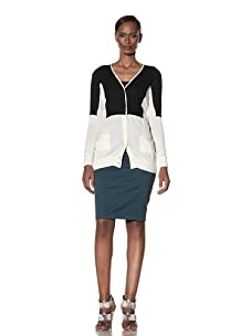 Moschino Cheap and Chic Women's Two-Tone Cardigan (Ivory/Black)