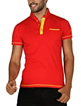 Paani Puri Men's Cotton Polo (MNC115_Red_X-Large)