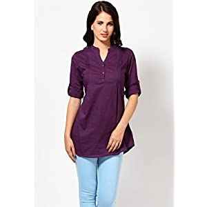 Roll-Up Sleeve Mandarin Collar Solid Purple Cotton Tunic