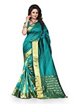 Shree Sanskruti Self Design Tassar Silk Green Color Saree For Women With Blouse Piece