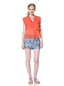 DV by Dolce Vita Women's Carlie Button Front Shirt (Red)