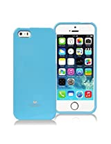 iPhone SE Case, [Low Profile] for Apple iPhone 5SE, [Pearl Glitter] MERCURY® Jelly Case TPU Case [Drop Protection] Ultra Slim TPU Case Cover [Anti-Yellowing / Discoloring Finish] - Sky Blue