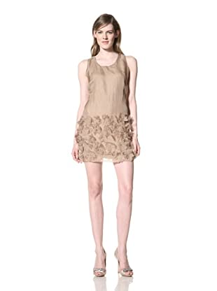 Alexia Admor Women's Rosette Applique Silk Organza Shift Dress (Taupe)