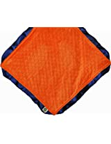 "Cozy Wozy Signature Minky Lovie Sized Baby Blanket with Satin Trim Lovie, Navy Blue/Bright Orange, 18"" x 18"""