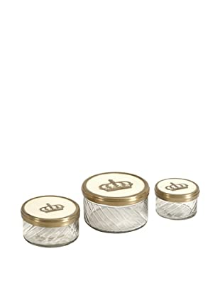 Set of 3 Crown Jars with Brass & Porcelain Lid