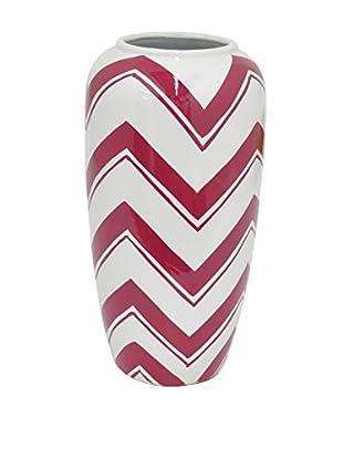 Three Hands Wide Chevron Ceramic Vase, Red/White