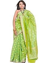 Banarasi Brocaded Sari with Golden Booties All-Over - Silk