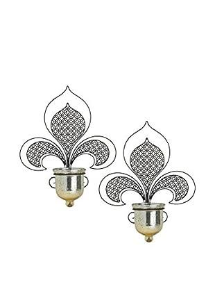 Bombay Company Set of 2 Metal Filigree Fleur De Lis Sconces, Black