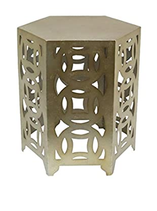 Three Hands Hexagon Metal Accent Table, Bronze