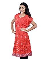 Kala Sanskruti Women's Cotton Silk Orange Kurti