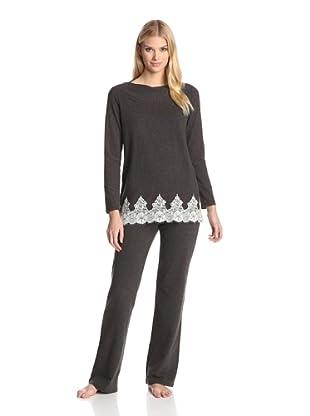 Valery Sleepwear Women's Cinderella 2-Piece Lace Trim PJ Set (Black)