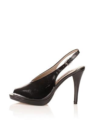 Adrienne Vittadini Women's Perry Peep-Toe Slingback (black crinkle patent)