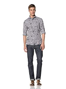 Orian Men's All-Over Embroidered Shirt (Black)