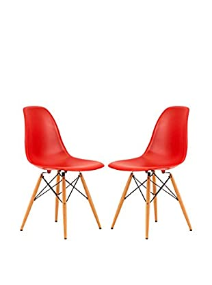 LeisureMod Dover Set of 2 Plastic Molded Side Chairs