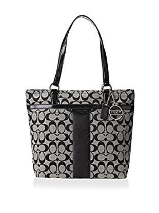Coach Women's Signature Stripe Tote, Black/White