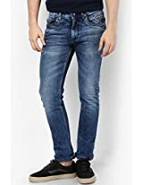 Solid Blue Slim Fit Jeans Numero Uno