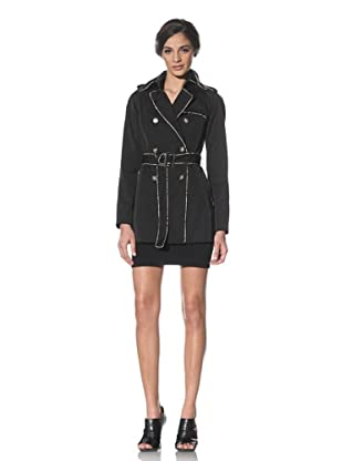 Badgley Mischka Women's Leah Belted Trench Coat (Black)