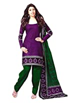 Reya Womens Cotton Unstitched Salwar Suit Dress Material (426 _Purple _Free Size)