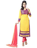 Manvaa Yellow And Pink Embroidered Suit With Georgette Fabric