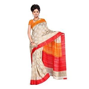 Bhagalpuri silk sarees - Fabdeal Red & Grey Bhagalpuri Silk Printed Saree