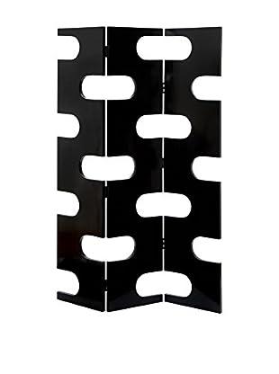 UMA Wood 3-Panel Screen, Black