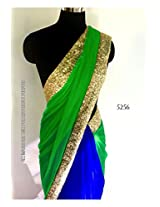 bollywood replica designer net chiffon & georgette half half blue & green saree with blouse.5256
