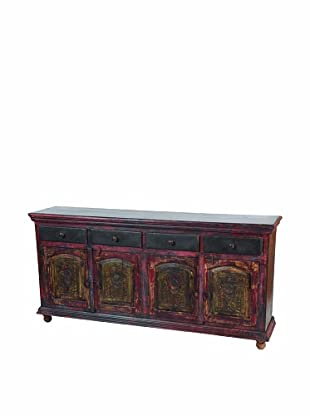 MOTI Historic Floral 4-Carved Door & 4-Drawer Buffet