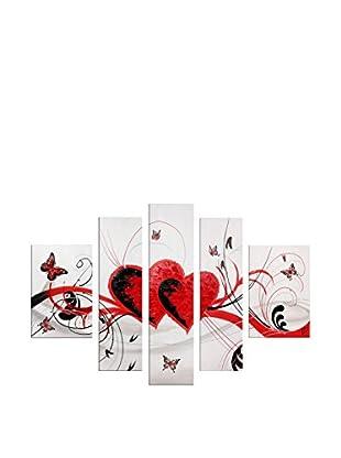 Arte Dal Mondo Cuadro 5 Piezas Edgar Ramirez Cuori E Farfalle