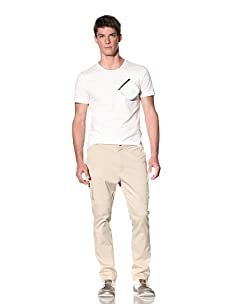 D by D Men's Tee with Zip Pocket Detail (White)