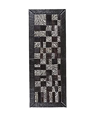 RugSense Alfombra Patchwork Negro/Blanco 180 x 65 cm